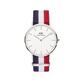 【Daniel Wellington】CLASSIC瑞典時尚品牌經典簡約尼龍腕錶-藍白紅x銀-40mm/DW00100017/原廠兩年保固