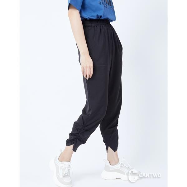 【南紡購物中心】CANTWO鬆緊側邊抓縐長褲-二色