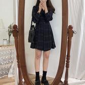 2019新款夏韓版裙子氣質收腰長袖洋裝女復古顯瘦高腰格子襯衫裙 滿天星