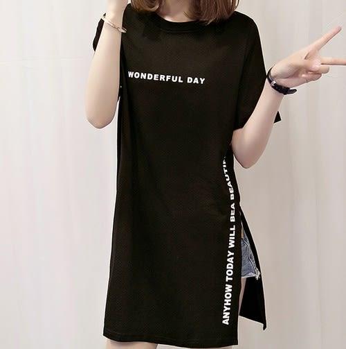 EASON SHOP(GU5065)長版側開岔中長款字母印花圓領短袖T恤裙連身裙女上衣服素色白棉T春夏裝韓版寬鬆