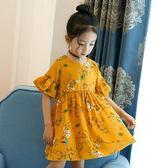 新品童裙女童喇叭短袖印花雪紡連身裙女寶夏款碎花公主裙子