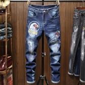 新品特惠# 外貿秋冬新款男士破洞貼布繡花男式刺繡修身小直筒彈力牛仔褲
