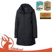 【Wildland 荒野 女 長版PR棉輕量防水外套《黑》】OA62901/連帽外套/風衣/夾克/保暖外套
