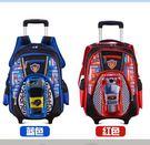 賽車男孩1-3-6年級小學生拉桿書包6-12歲減負兒童六輪背包
