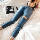 窄管褲 LIVIA必入款百搭刀割顯瘦高腰緊身前後破洞水洗小腳牛仔褲女-Ballet朵朵