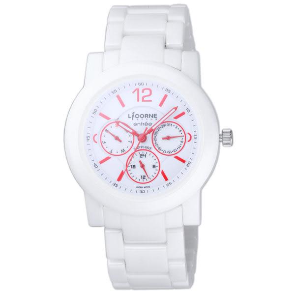 【LICORNE力抗錶】恩萃Entree系列 極簡高雅三眼顯示陶瓷腕錶 (紅X白 LT042MWWI-R)