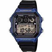 CASIO 雷神戰士個性運動電子錶-黑x藍(AE-1300WH-2A)【屈臣氏】