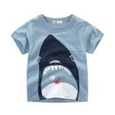 鯊魚吃螃蟹印花短袖T恤 童裝 上衣 T-shirt
