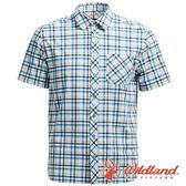 【wildland 荒野】男 彈性抗UV格子短袖襯衫『深藍』0A71208 吸濕 快乾 排汗衣 襯衫 登山 排汗衫