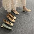 低跟鞋復古奶奶鞋粗跟單鞋女低跟豆豆鞋春款OL方頭圓頭韓版淺口瓢鞋 麗人印象 全館免運