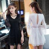 洋裝 秋裝女新款韓版chic衣服鏤空漏背顯瘦V領蕾絲收腰連衣裙慵懶