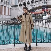 風衣外套-長版經典雙排扣純色寬鬆女大衣2色73yr2[巴黎精品]