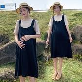 漂亮小媽咪 實拍 韓系 兩件式 背心 洋裝【DS7028】冰絲 涼爽 兩件套 背心裙 吊帶 連身裙 吊帶裙