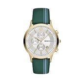 【Emporio Armani】美式經典簡約帆布雙色日期時尚腕錶-軍工綠/AR11221/台灣總代理公司貨享兩年保固