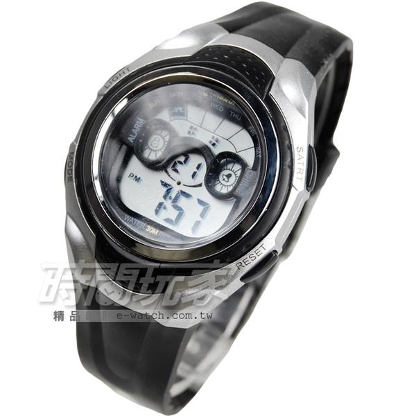 MINGRUI 輕便多功能計時腕錶 學生電子錶 兒童手錶 女錶 鬧鈴 日期 冷光照明 MR8580黑