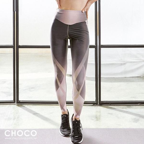 Choco Shop-Fit極致‧輕量高腰彈性九分運動褲(炫彩紫) S~L