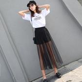 夏季新款網紗半身裙超薄透視女紗裙高腰單層黑色打底外搭透明長裙 韓國時尚週