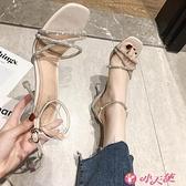 高跟涼鞋 涼鞋女夏仙女風2021年新款時尚中跟百搭水鉆一字帶高跟鞋細跟女鞋 小天使 99免運