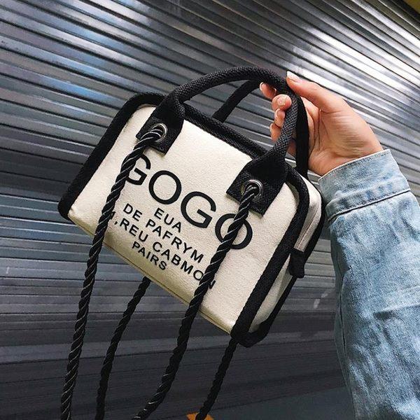 斜背包小包包韓版字母手提小方包帆布百搭側背包 黛尼時尚精品