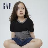 Gap女童 純棉撞色V領短袖T恤 854571-灰色拼接