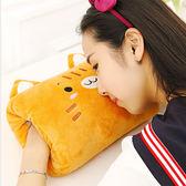 【BlueCat】哈皮動物農莊方型捲心酥暖手抱枕/午睡枕