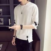 男士短袖T恤夏季韓版夏裝體恤嘻哈五分袖潮流半袖衣服7七分袖潮牌 小巨蛋之家