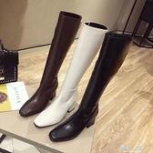 歐美2019冬新款方頭馬丁長靴女中粗跟長筒靴瘦瘦不過膝騎士高筒靴『櫻花小屋』