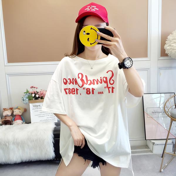 EASON SHOP(GW5431)實拍撞色字母印花側邊開衩長版OVERSIZE短袖T恤裙連身裙女上衣服寬鬆內搭素色棉T