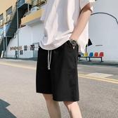 ins夏季日系男寬鬆五分褲潮流純色沙灘中褲情侶休閒褲子 【快速出貨】