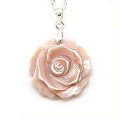 貝殼粉紅玫瑰花純銀項鍊 - 花 22mm