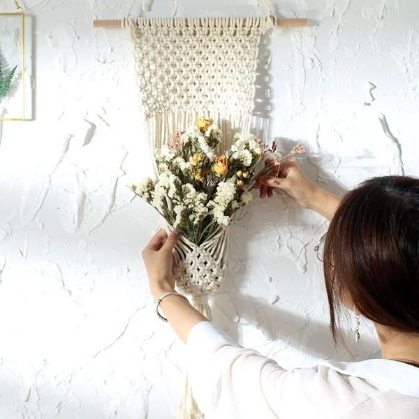 北歐家居軟裝裝飾手工編織棉線流蘇掛毯 壁掛毯ins風文藝掛布背景 璐璐