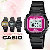 CASIO 手錶專賣店 卡西歐 LA-20WH-4A 中性錶 白面桃紅框 壓克力鏡面塑膠錶帶 數字 電子錶 碼錶功能