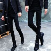 秋冬款黑色牛仔褲男士修身小腳褲韓版潮加絨加厚彈力青少年鉛筆褲 三角衣櫃