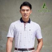 JOHN DUKE 時尚印花格紋休閒衫-白