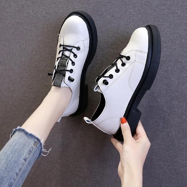 牛津鞋 2021平底系帶小皮鞋女英倫風復古學院黑色布洛克單鞋女粗跟網紅鞋 3C數位百貨