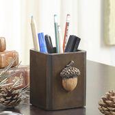 美式復古實木創意筆筒多功能方形筆桶辦公文具用品桌面收納盒筆座吾本良品