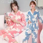 哺乳睡衣 月子服加厚珊瑚絨孕婦睡衣產前產後哺乳衣喂奶衣法蘭絨套裝「Chic七色堇」