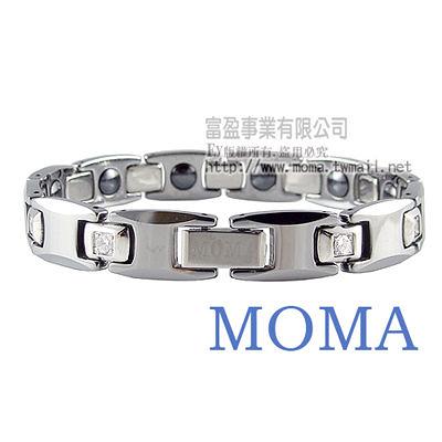 【MOMA】鎢鋼鍺磁手鍊至尊鑲鑽寬版-M82MD