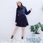 betty's貝蒂思 拼接蕾絲百褶短裙(藍色)