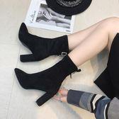 高跟短靴女尖頭馬丁靴粗跟短筒百搭彈力靴秋冬加絨中筒靴女鞋子潮
