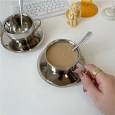 韓國ins極簡風304不銹鋼隔熱咖啡杯英式下午茶杯碟勺家用水杯茶杯 韓國時尚週