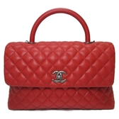 CHANEL 香奈兒 紅色荔枝紋牛皮手提包Coco Flap Bag with Top Handle Bag【BRAND OFF】
