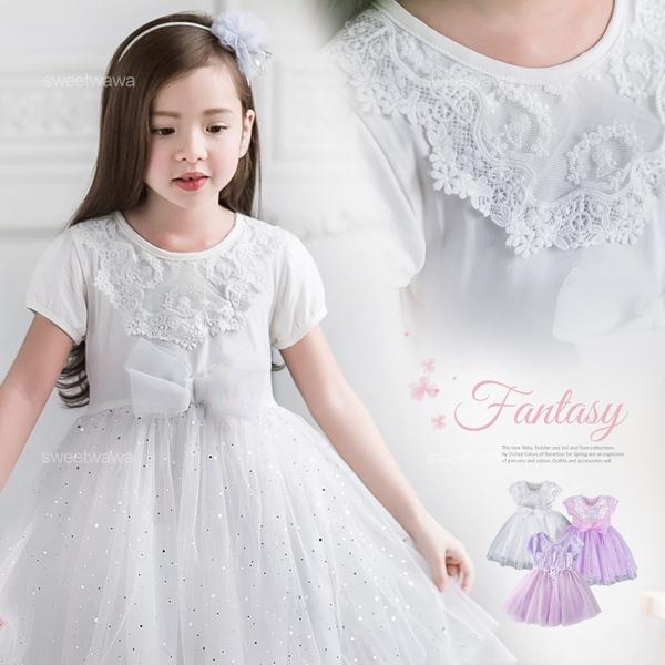 新款紫~織花亮片點點大蝶結雪紡層紗膨膨裙洋裝禮服(有內裡)(250059)★水娃娃時尚童裝★