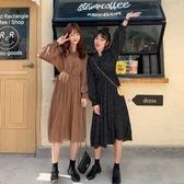 漂亮小媽咪 碎花洋裝【D5318】 碎花 長袖 韓系 立領 繫帶 雪紡 長裙 洋裝 孕婦裝 長洋裝
