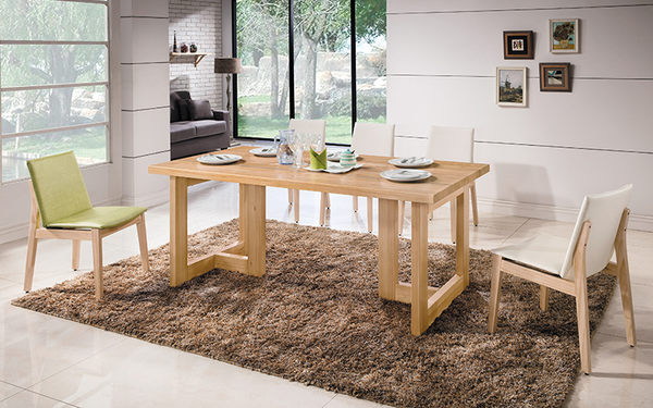 【森可家居】科林6尺原木全實木餐桌 8HY447-03 MIT台灣製造