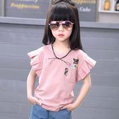 女童短袖t恤新款夏裝韓版寬鬆半袖中大童兒童純棉體恤上衣【七七特惠全館七八折】