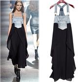 中大尺碼牛仔裙拼接洋裝連身裙長裙背帶裙歐美MB040-A.5019一號公館牛仔部份偏深藍