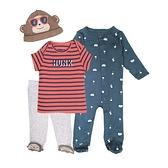 【北投之家】新生兒套裝四件組 短袖上衣+長袖兔裝+包腳褲子+帽子 棕猴子 | Carter s卡特童裝