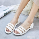 果凍涼鞋 夏季平跟果凍鞋女軟底防滑防水沙灘鞋女海邊媽媽休閒魚嘴塑料涼鞋 韓菲兒