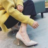 高跟貓跟鞋貓跟鞋女秋季新款細跟高跟鞋尖頭淺口百搭性感單鞋套腳女鞋子